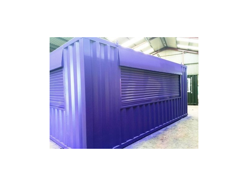 Shipping Container Conversions 20ft x 14ft with roller shutters click to zoom image