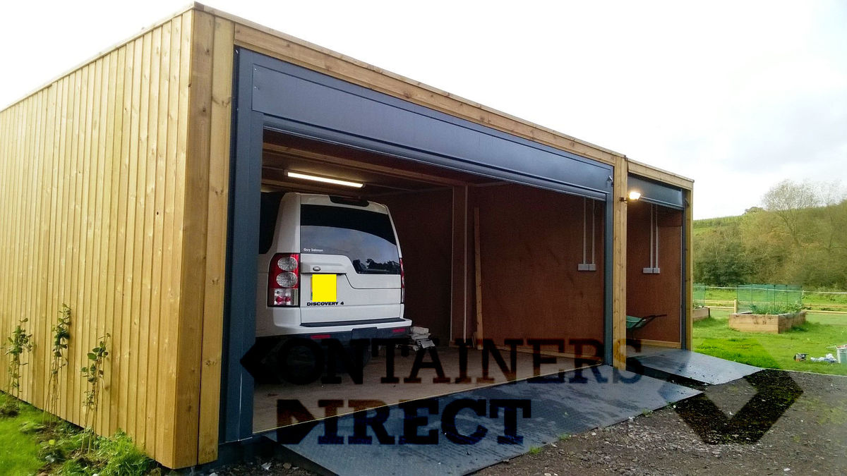 Container Garage container conversions cladded garage unit 24ft x 20ft cs37850