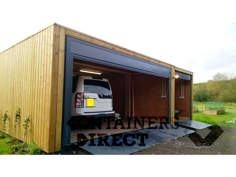 Shipping Container Conversions Cladded garage unit 24ft x 20ft click to zoom image