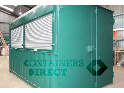Shipping Container Conversions 14ft pop up bar with roller shutter hatch