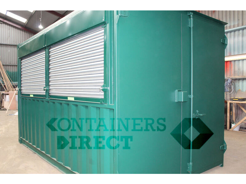 Shipping Container Conversions 14ft pop up bar with roller shutter hatch click to zoom image