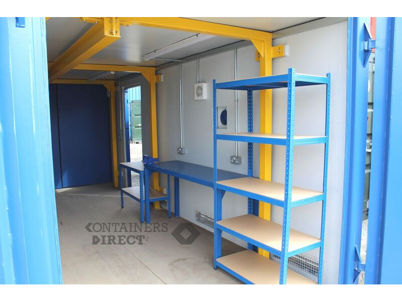 Shipping Container Conversions 20ft workshop with lifting beam click to zoom image