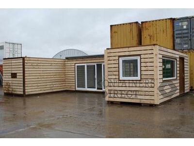 CONTAINER CONVERSIONS 3 x 20ft joined up store, workshop and kitchen