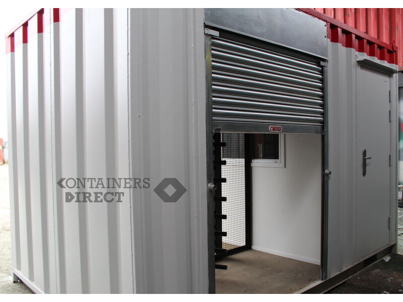 Shipping Container Conversions 12ft office with turnstile click to zoom image