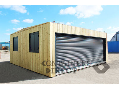 CONTAINER CONVERSIONS 20ft x 20ft CarTainer with roller shutter and cladding