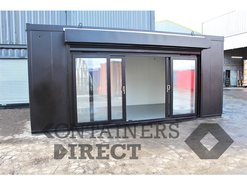 Shipping Container Conversions 12ft wide pop-up shop with roller shutter click to zoom image