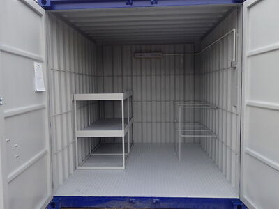 Shipping Container Conversions 10ft with anti slip floor, tool rack and shelving