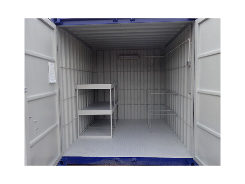 Shipping Container Conversions 10ft with anti slip floor, tool rack and shelving click to zoom image
