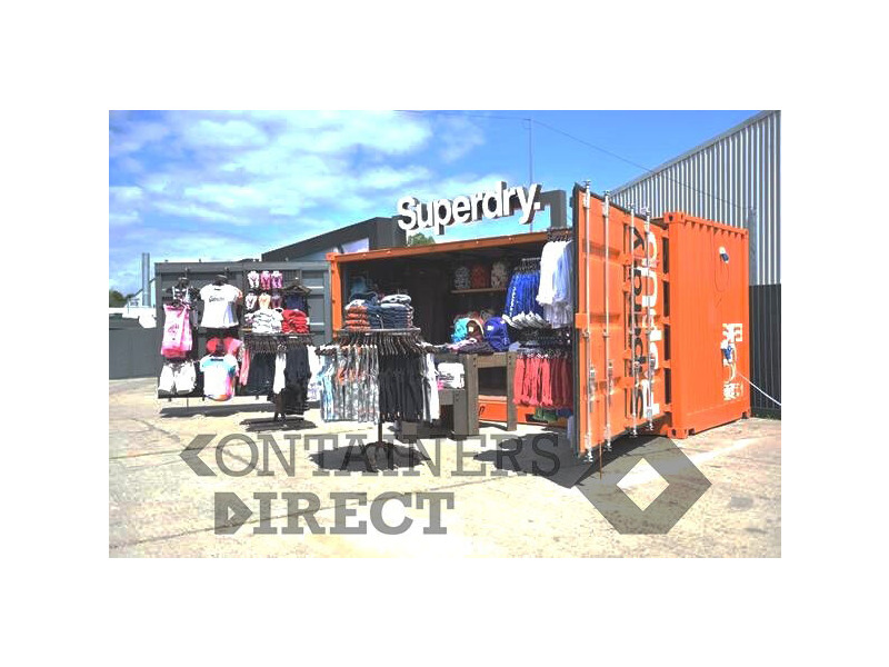 Shipping Container Conversions 20ft Full Side Access - Superdry Pop-up Shop click to zoom image