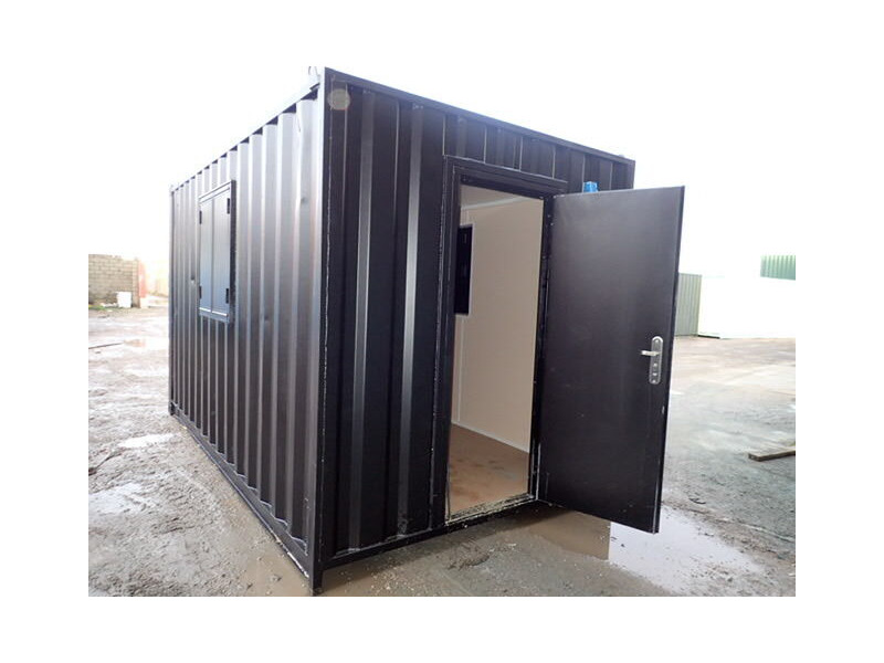 Shipping Container Conversions 14ft with personnel door and windows - melamine lined click to zoom image