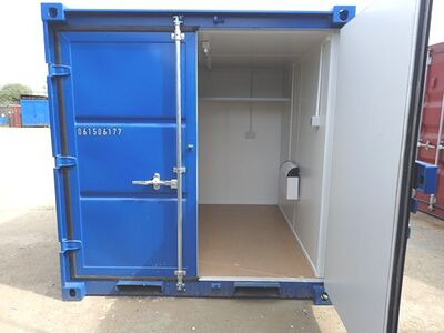 Shipping Container Conversions 8ft melamine lined, steel shelf and electrics
