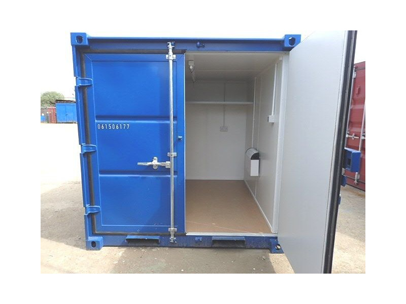 Shipping Container Conversions 8ft melamine lined, steel shelf and electrics click to zoom image