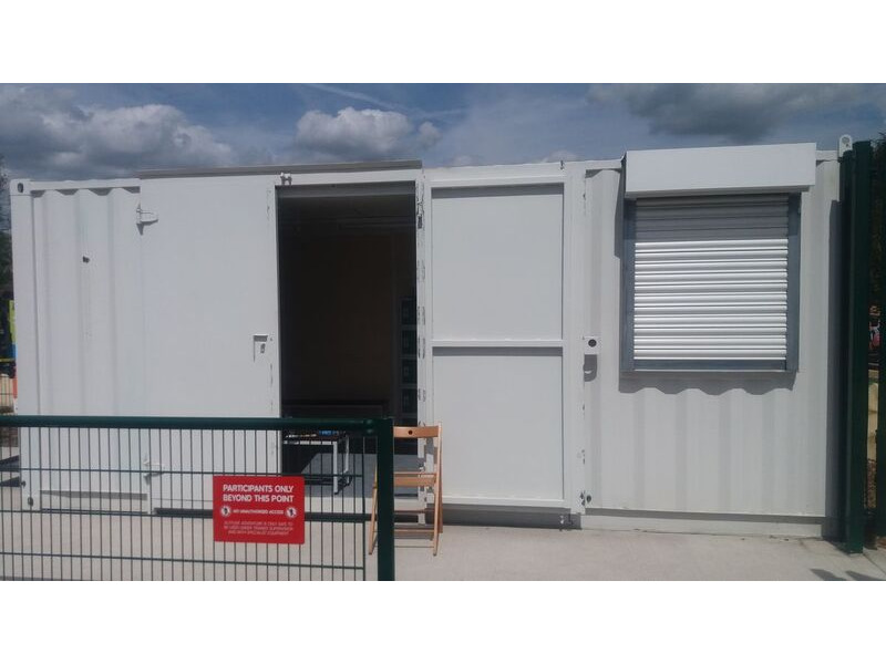 Shipping Container Conversions 20ft with office partition and roller shutter click to zoom image