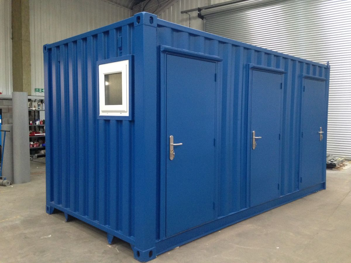 Container conversion case studies 16ft toilet block - Shipping container public bathroom ...