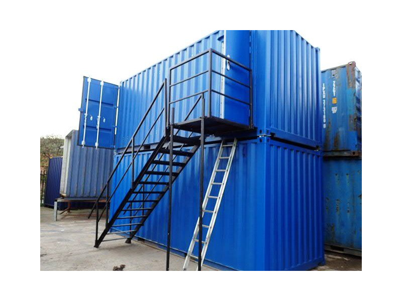 CONTAINER CONVERSION CASE STUDIES 2 x 20ft containers stacked, with staircase click to zoom image