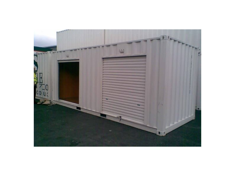 Shipping Container Conversions 20ft personnel door and roller shutter click to zoom image