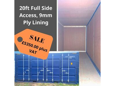 SHIPPING CONTAINERS 20ft full side access, ply lined HL28