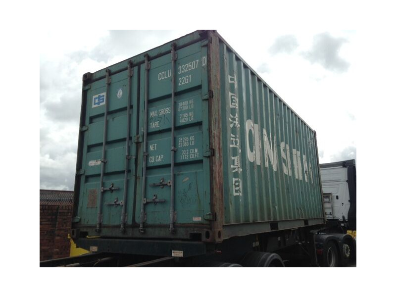 SHIPPING CONTAINERS Green 20ft FG original doors click to zoom image