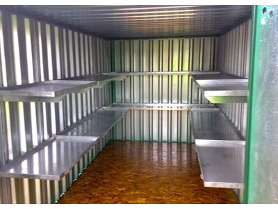 Flat Pack Shipping Containers 4m with longside door and shelving