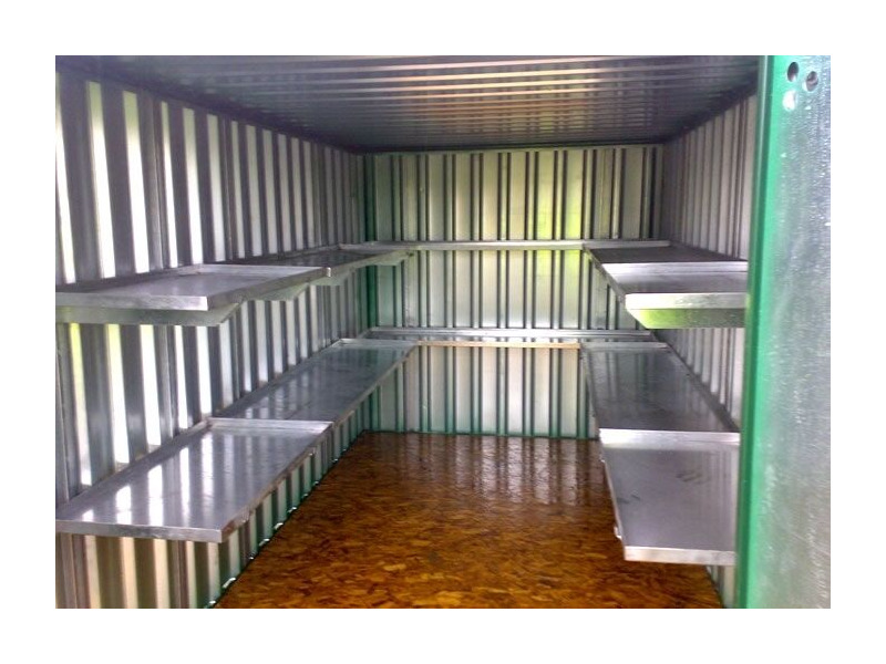 Flat Pack Containers 4m with longside door and shelving click to zoom image